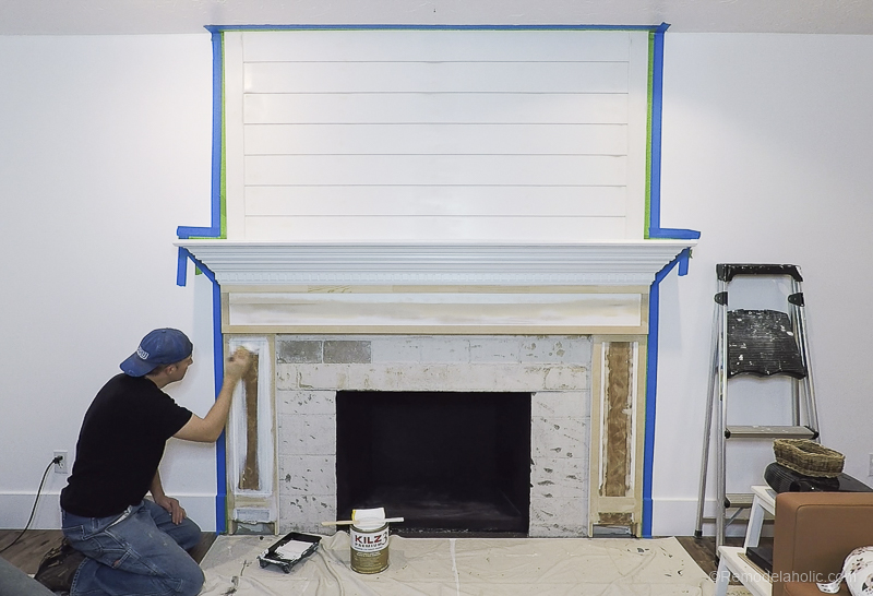 Remodelaholic Diy Fireplace Makeover Part Two Kilz Priming And