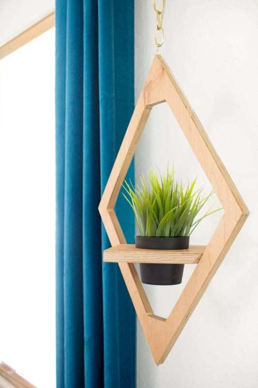 Wood Diamond Hanging Planter, DIY West Elm Knock Off Hanging Planter