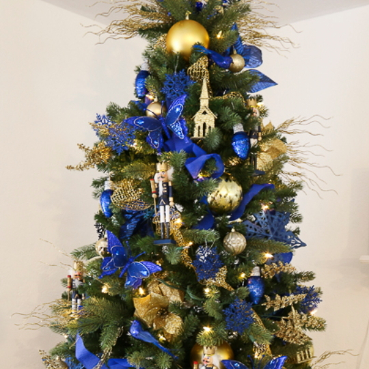 Christmas Tree Decorated In Gold And Blue Decor From The Dollar Store
