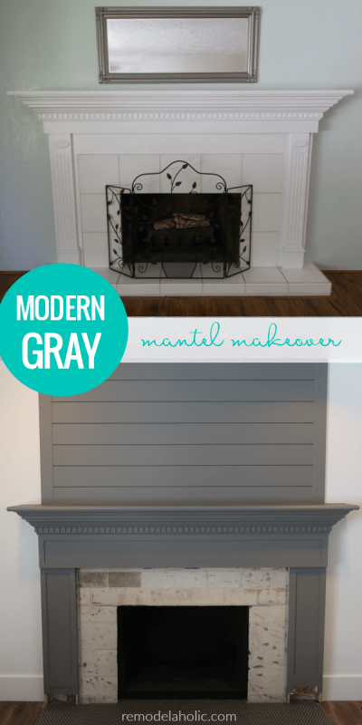 Modern Mantel Makeover, How To Prime And Paint A Wood Mantel #remodelaholic
