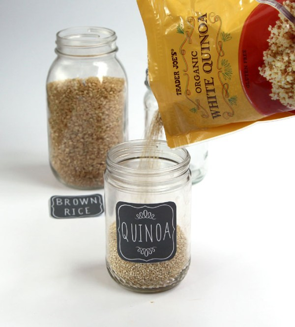 Two Glass Mason Jars Labeled With Cute Chalkboard Labels Showing Brown Rice And Quinoa