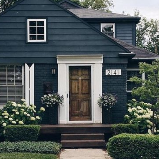 Curb Appeal For Dark Colored Home, Dark Blue With White Trim And Gorgeous Bushes