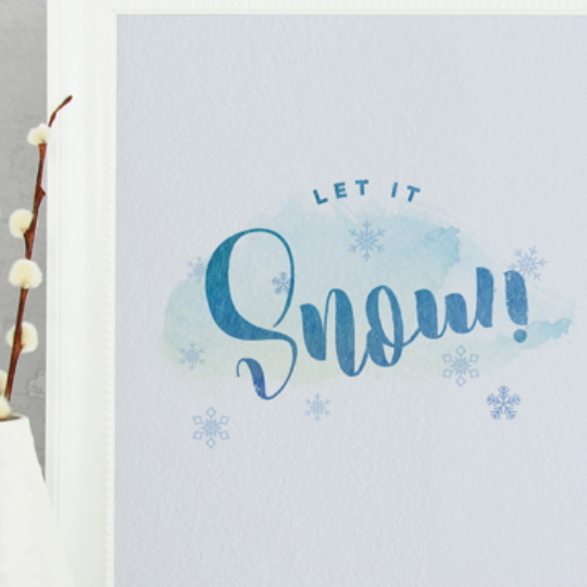 Let It Snow Printable Calligraphy With Snowflakes In A White Frame