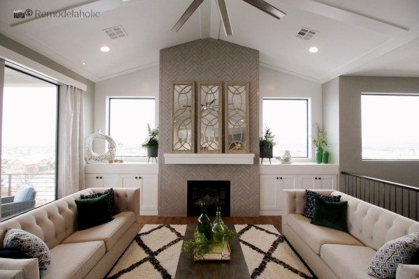 Mirrors Above A Fireplace In A Living Room Photo By Remodelaholic.com