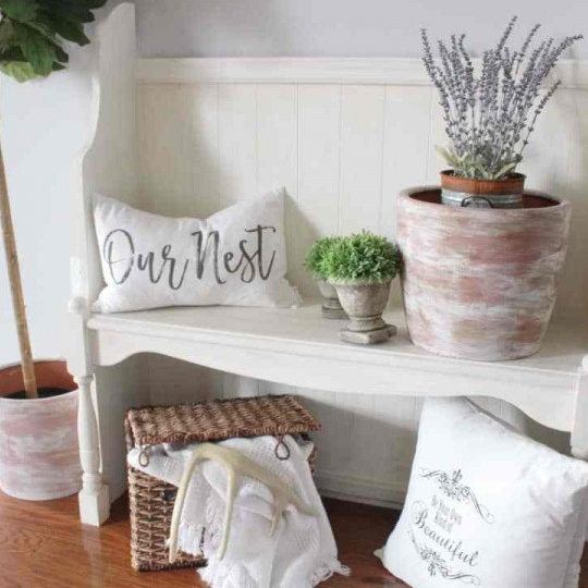White Entry Bench With Saying Pillows Like, Our Nest