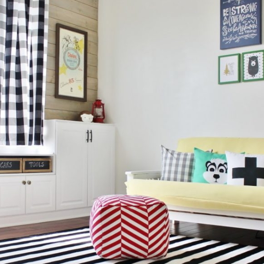 Helving Ideas, Beautiful TOy ROom With Black And White Striped Rug, Yellow Couch