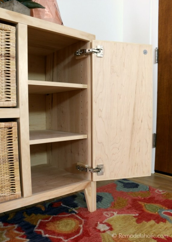 How To Make An Entry Table With Cubby Storage And Adjustable Shelves In Cabinet, Ikea Hack Hinges, Remodelaholic