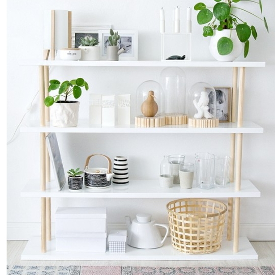 White Shelf With Pops Of Color
