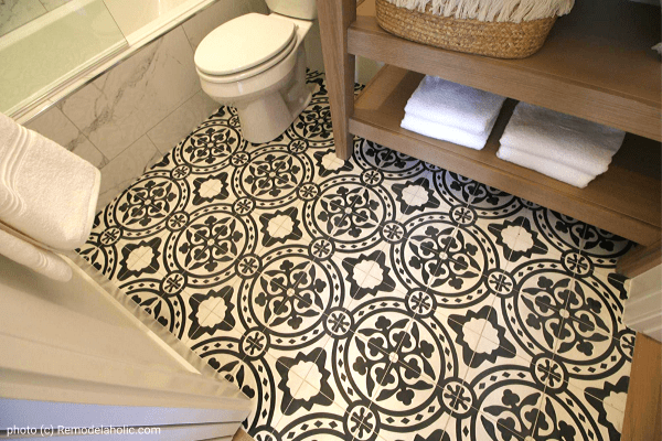 Get This Look Modern Farmhouse Bathroom Design Mosaic Floor Tile