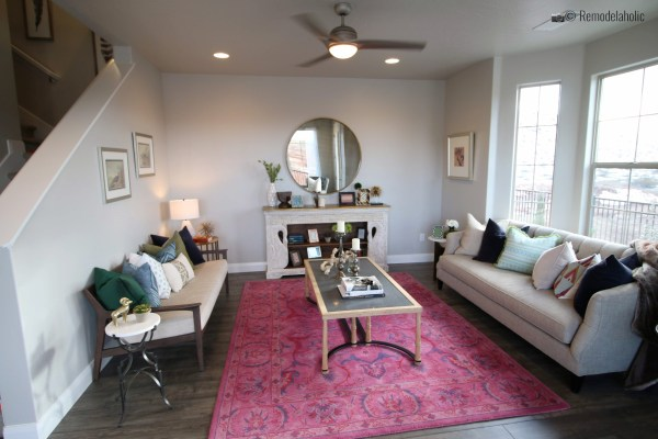 Go bold with a pretty oriental style rug in the living room. SGPH 2019 House 23 Ivory Southern, LLC (11) Photo by Remodelaholic.com