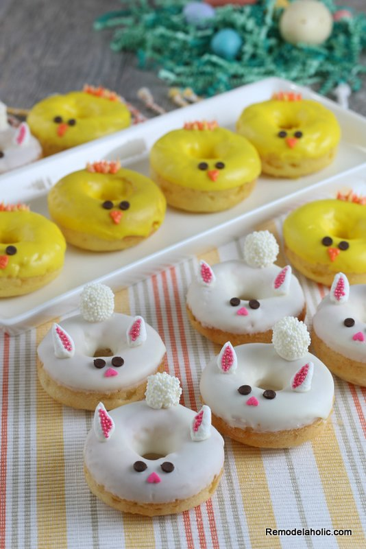 Easy Baked Donuts For Easter Bunny And Spring Chick Donuts Remodelaholic