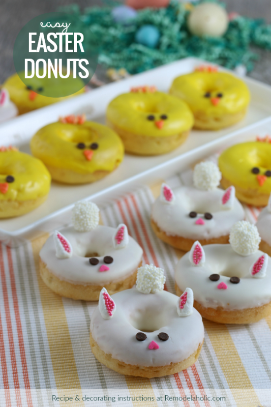 Easy Easter Dessert Baked Donuts Recipe From Cake Mix, Decorate Easter Bunny Donuts And Spring Chick Frosting #remodelaholic