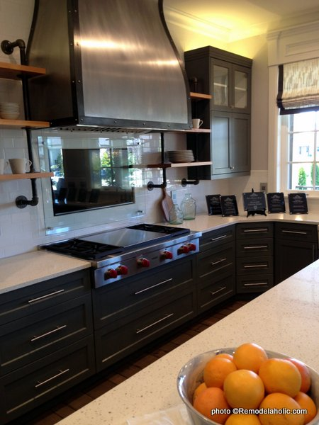 Modern Industrial Farmhouse Dark Gray Kitchen Cabinets, Metal Range Hood, Open Shelves UVPH 2015 HOME 24 HIGHLAND CUSTOM HOMES