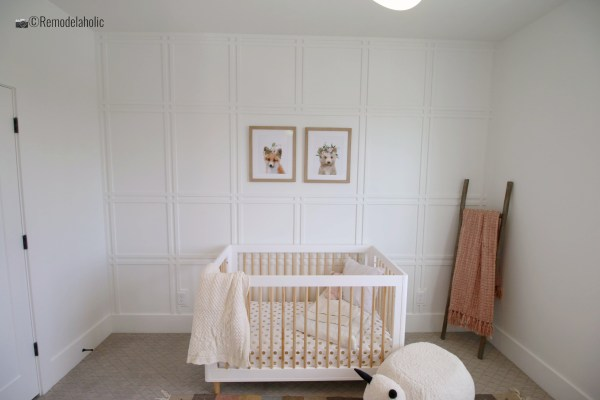 White grid fretwork in a baby girl nursery, UVPH 2017 Home 18 Millhaven Select, Millhaven Interiors, Photo by Remodelaholic