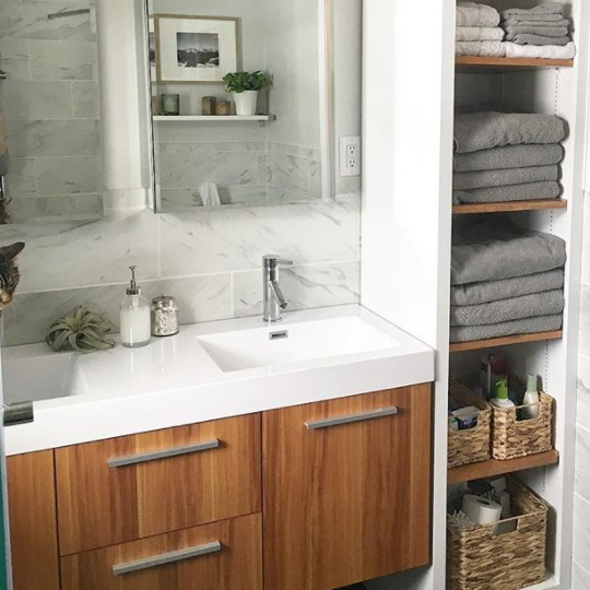 Bathroom Vanity, Wood With White Counter, Open Shelves