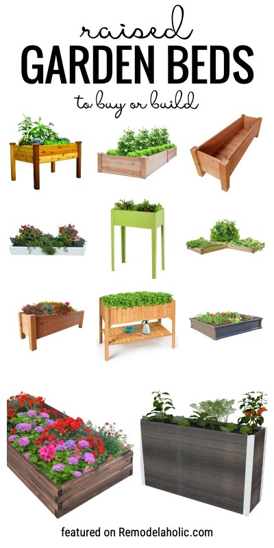 Cultivez votre propre nourriture avec un lit de jardin surélevé. Nous partageons plus de 30 lits de jardin surélevés pour acheter ou construire en vedette sur Remodelaholic.com