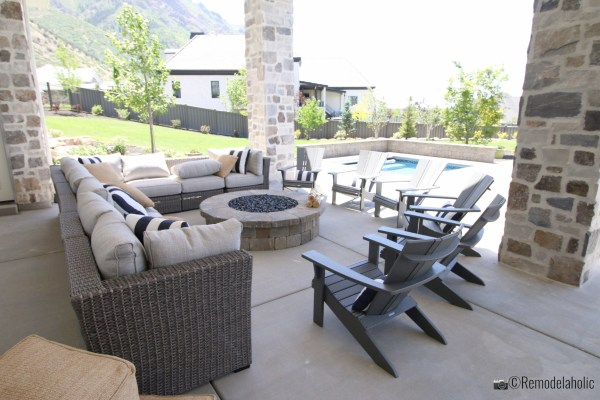 Entertain a large crowd with a huge outdoor sectional. UVPH 2018 Home 33 E Builders, Erin Hansen Design, Photo by Remodelaholic