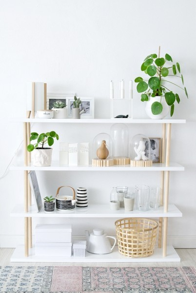 White Walls, Wall Shelves With Gold Accent, Green Plants And White Frames