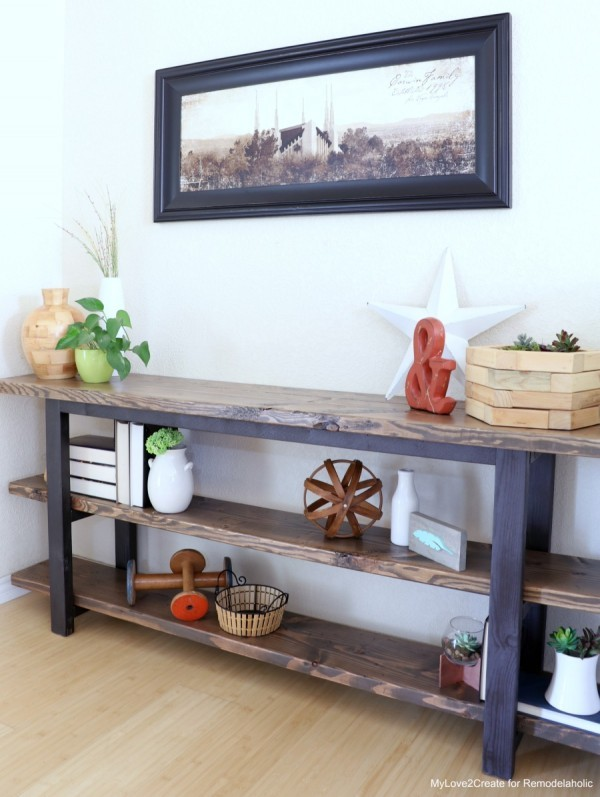Wooden Console Table With Stained Wood And Painted Wood, Pottery Barn Inspired