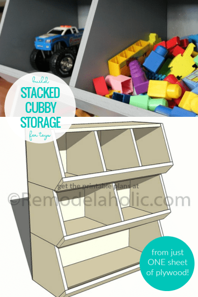 Build A Cubby Storage Toy Organizer From One Sheet Of Plywood, Woodworking Plans From Remodelaholic