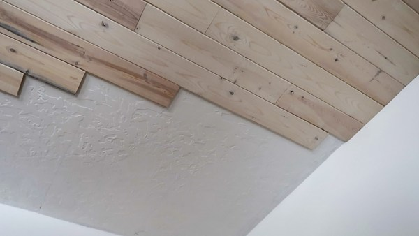 Installing Whitewashed Knotty Pine Boards On Ceiling Stagger Ends Of Boards