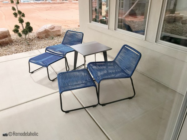 Modern blue patio chairs, SGPH 2019 House 02 Ivory Homes, LTD, Photo by Remodelaholic