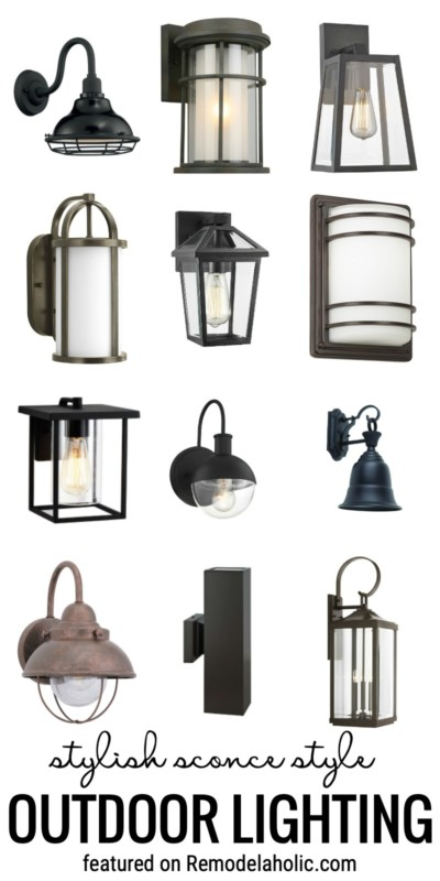 Add A Bump To Your Curb Appeal With These Stylish Sconce Style Outdoor Lighting Featured On Remodelaholic.com #outdoorlighting #outdoorsconces