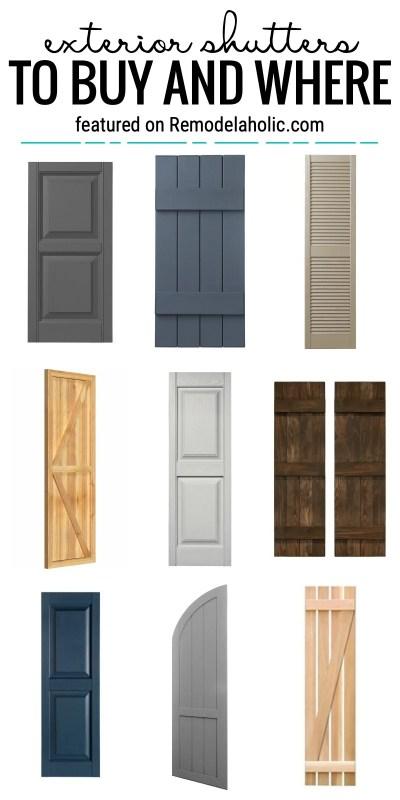 Ajoutez une touche spéciale à l'extérieur de votre maison avec des volets. Nous allons vous montrer quelques idées de volets extérieurs à acheter et où en vedette sur Remodelaholic.com