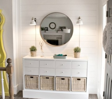 Remodelaholic Instagram Home Entryway With White Shiplap Walls, Circle Mirror, Dresser With Wicker Baskets