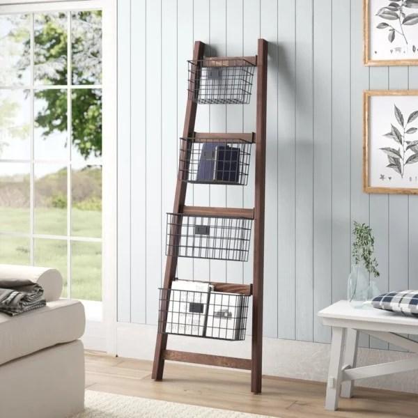 Wooden Orchard Ladder, Angled Blanket Ladder With Storage Baskets
