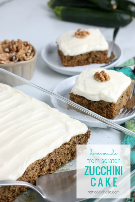 Easy Homemade Zucchini Cake From Scratch Recipe #remodelaholic
