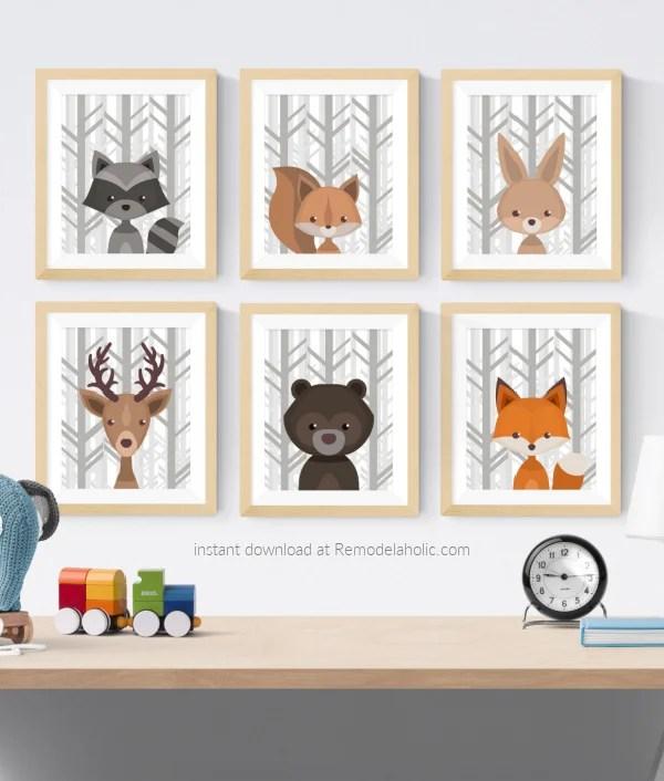 Gray Birch Forest Winter Woodland Animal Nursery Art Set Printable Vertical Remodelaholic