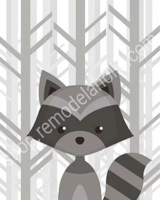 Gray Forest Woodland Animal Nursery Art Raccoon