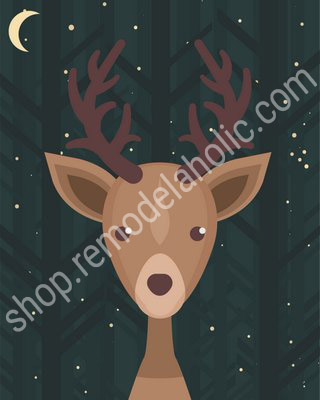 Night Sky Woodland Animal Nursery Art Deer