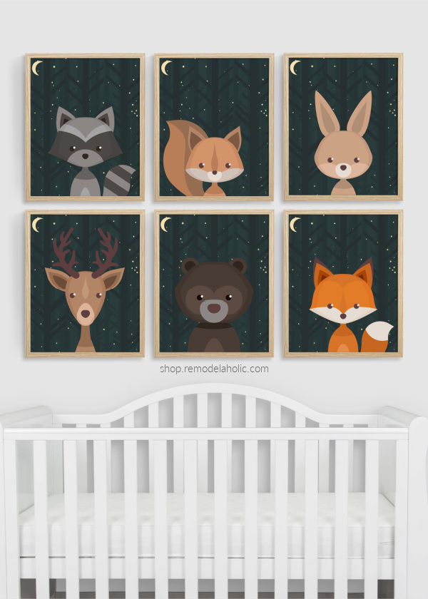 Night Sky Woodland Animals Nursery Art Printable Set Vertical Remodelaholic
