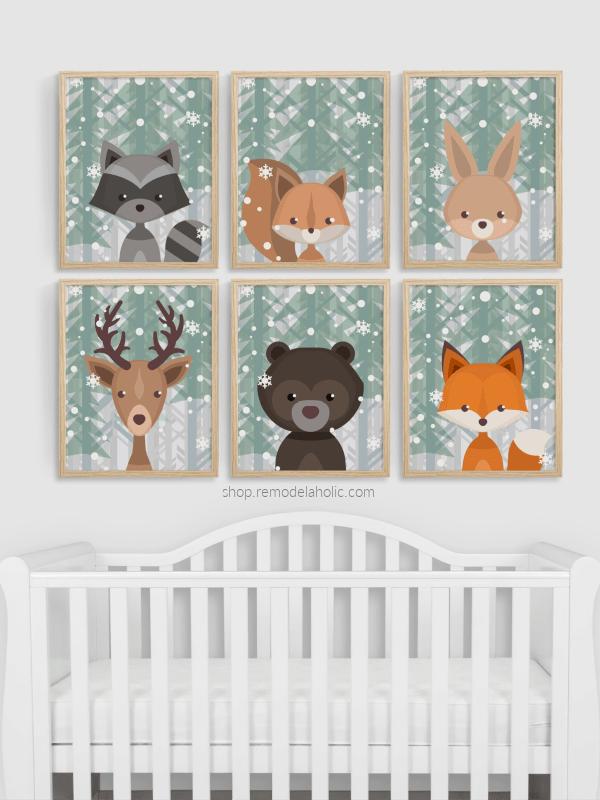 Winter Evergreen Snow Woodland Animal Nursery Art Set Vertical Remodelaholic