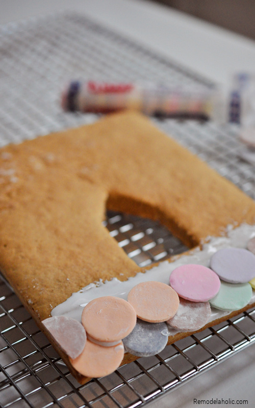 Building A Necco Roof For Gingerbread House, From Remodelaholic