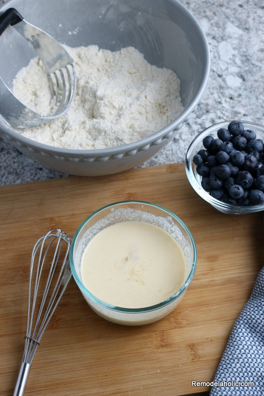 Whisk Wet Ingredients To Make Blueberry Scones, From Remodelaholic