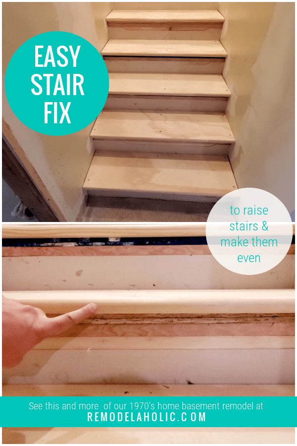 How To Fix Uneven Stairs Quickly And Easily To Replace And Raise Treads #remodelaholic