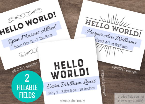 Hello World Printable Birth Announcement Sign And Baby Milestone Cards, Remodelaholic