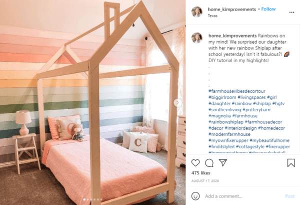 House Bed Frame For Girl's Room With Painted Rainbow Shiplap Accent Wall, @home Kimprovements On Remodelaholic