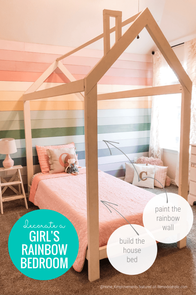 How To Decorate A Girl's Rainbow Room, Shiplap Rainbow Wall, House Bed Frame @home Kimprovements On Remodelaholic