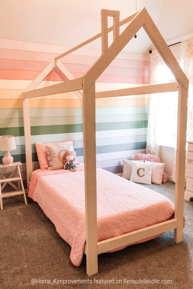 Kids Bedroom Wall Rainbow Shiplap With DIY House Bed Frame, Home Kimprovements For Remodelaholic (1)