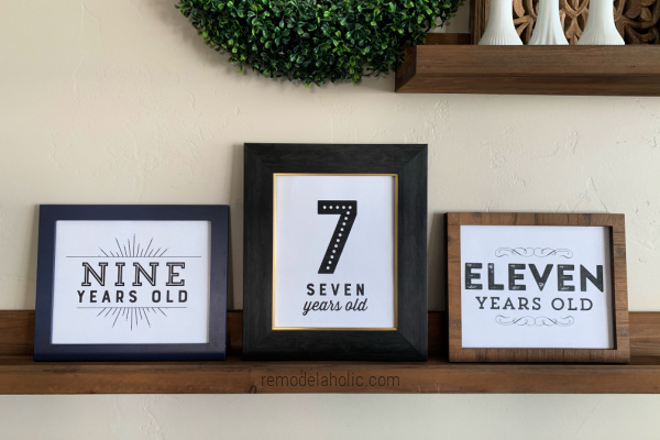 Printable Birthday Signs For Photos Or Party Decor, 3 Styles, Black And White Printables, Remodelaholic