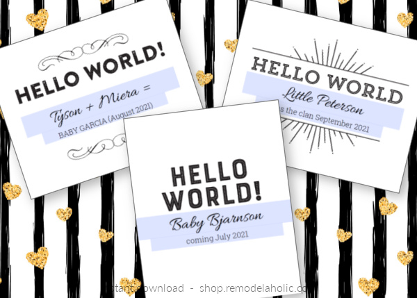 Printable Pregnancy Announcement, Hello World, Instant Download Remodelaholic