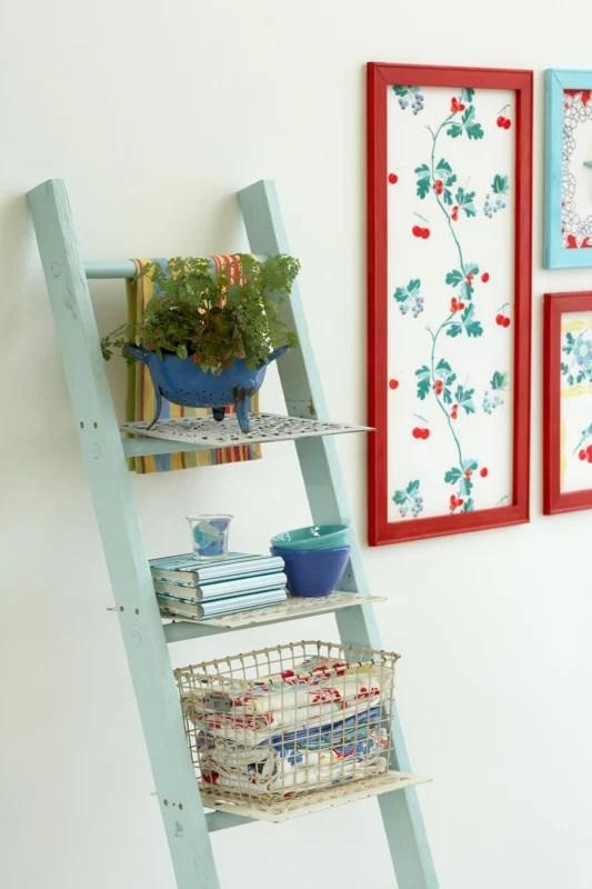 DIY Ladder Storage, Vintage Ladder With Baskets And Storage Shelves, BHG By Cameron Sadeghpour Photo