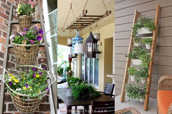 Easy Diy Porch Ladder Ideas For Outdoor Decorative Ladders For Flower Planters Vertical Garden Lighting Remodelaholic
