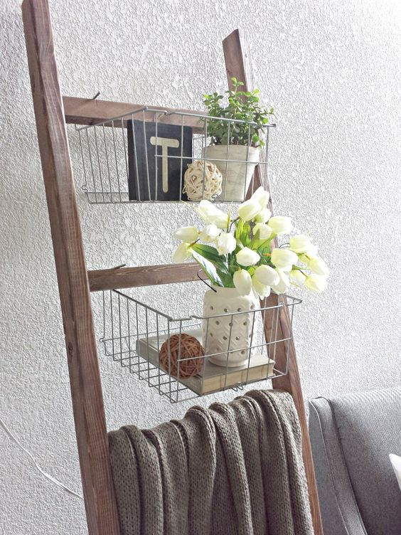 Ikea Baskets On A Wooden Blanket Ladder For Storage And Decor, Blue Sage Designs