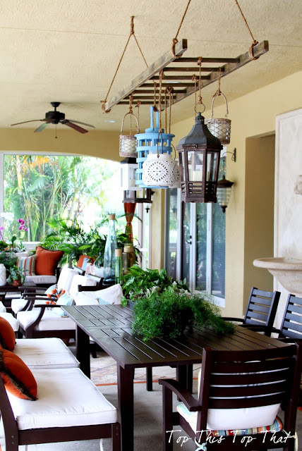 Vintage Ladder As Outdoor Chandelier With Lanterns, Top This Top That