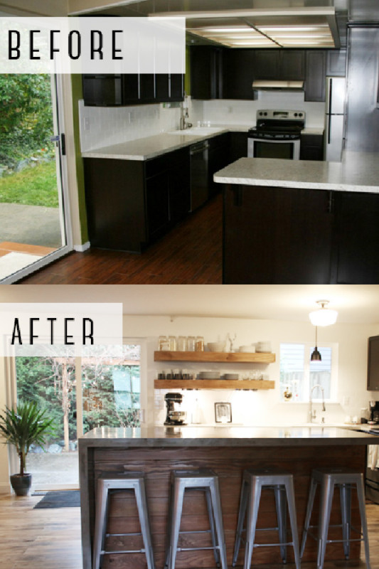 Before And After Modern Kitchen Remodel With Concrete Island, Petite Modern Life On Remodelaholic